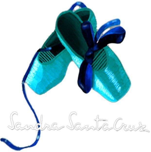 Foto del logotipo Centro de Danza Sandra Santa Cruz donde una de las zapatillas de puntas cruza sobre la otra y los lazos hacen un dibujo sobre ellas.