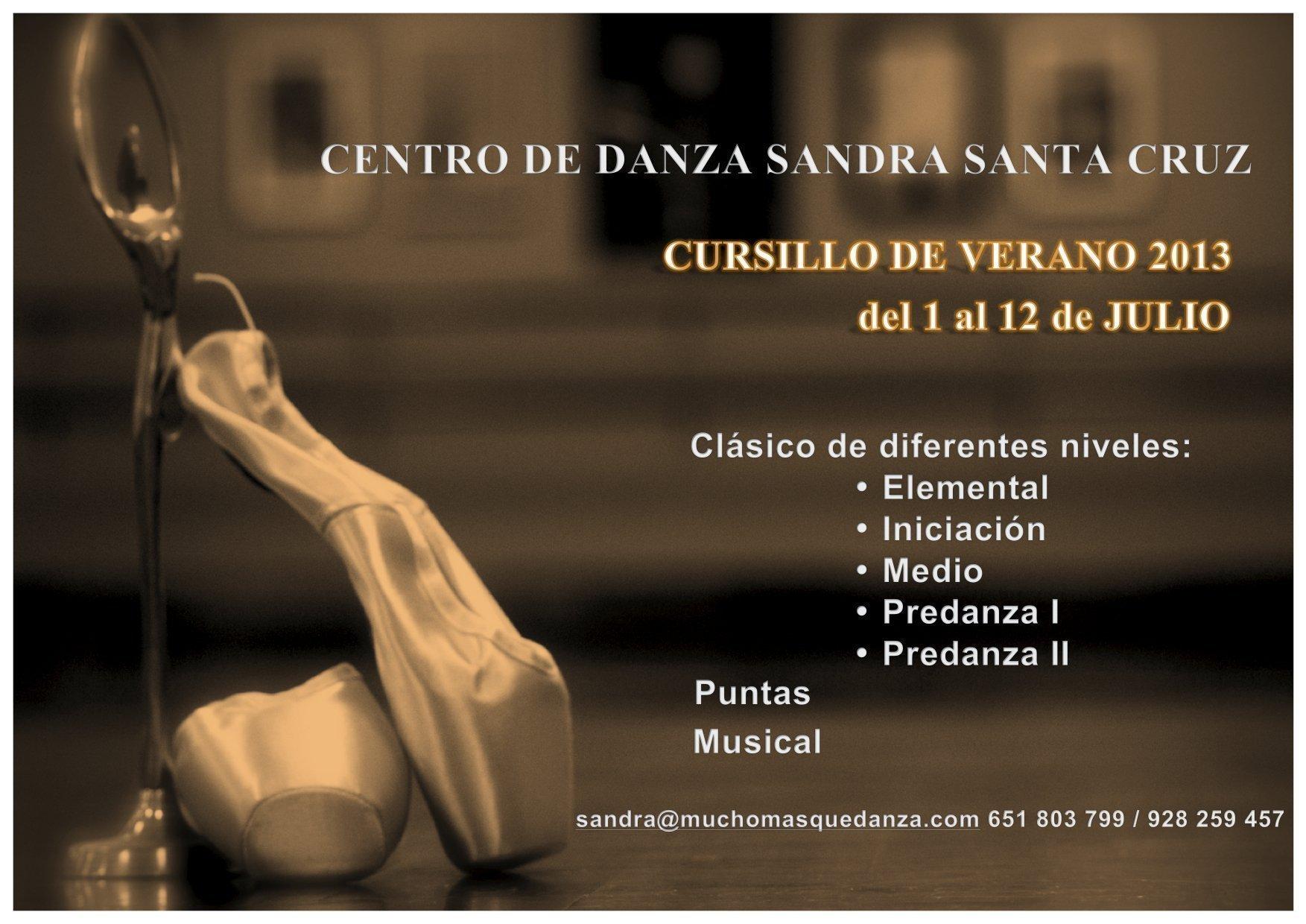 Cartel verano 2013 del Centro de Danza Sandra Santa Cruz