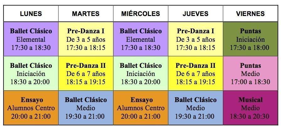 Horarios del Centro de Danza Sandra Santa Cruz para el mes de Julio 2013