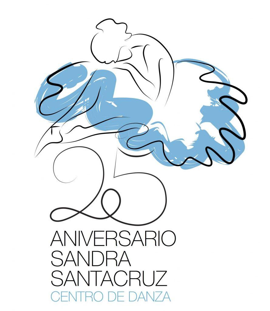 Brand del 25 Aniversario Centro de Danza Sandra Santa Cruz donde se ve un dibujo de una bailarina con un tutú azul sentada sobre un enorme 25 y debajo pone ANIVERSARIO SANDRA SANTA CRUZ