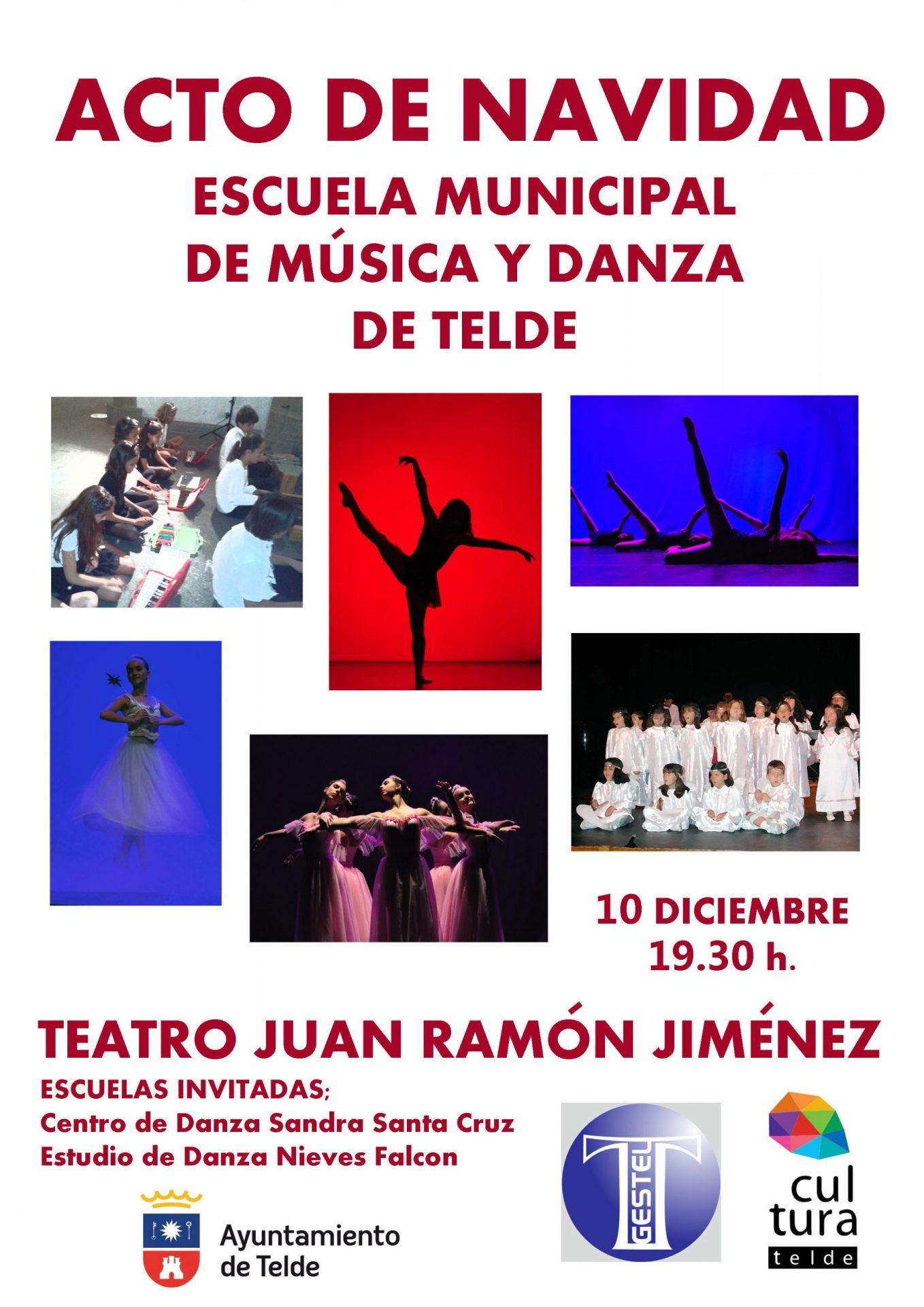 Cartel de encuento de escuelas de Danza por Navidad con 6 fotos de bailaines de distintas escuelas