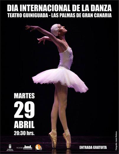 """Cartel del Día Internacional de la Danza 2014 de una baialrina baialndo """"La muerte del cisne"""""""