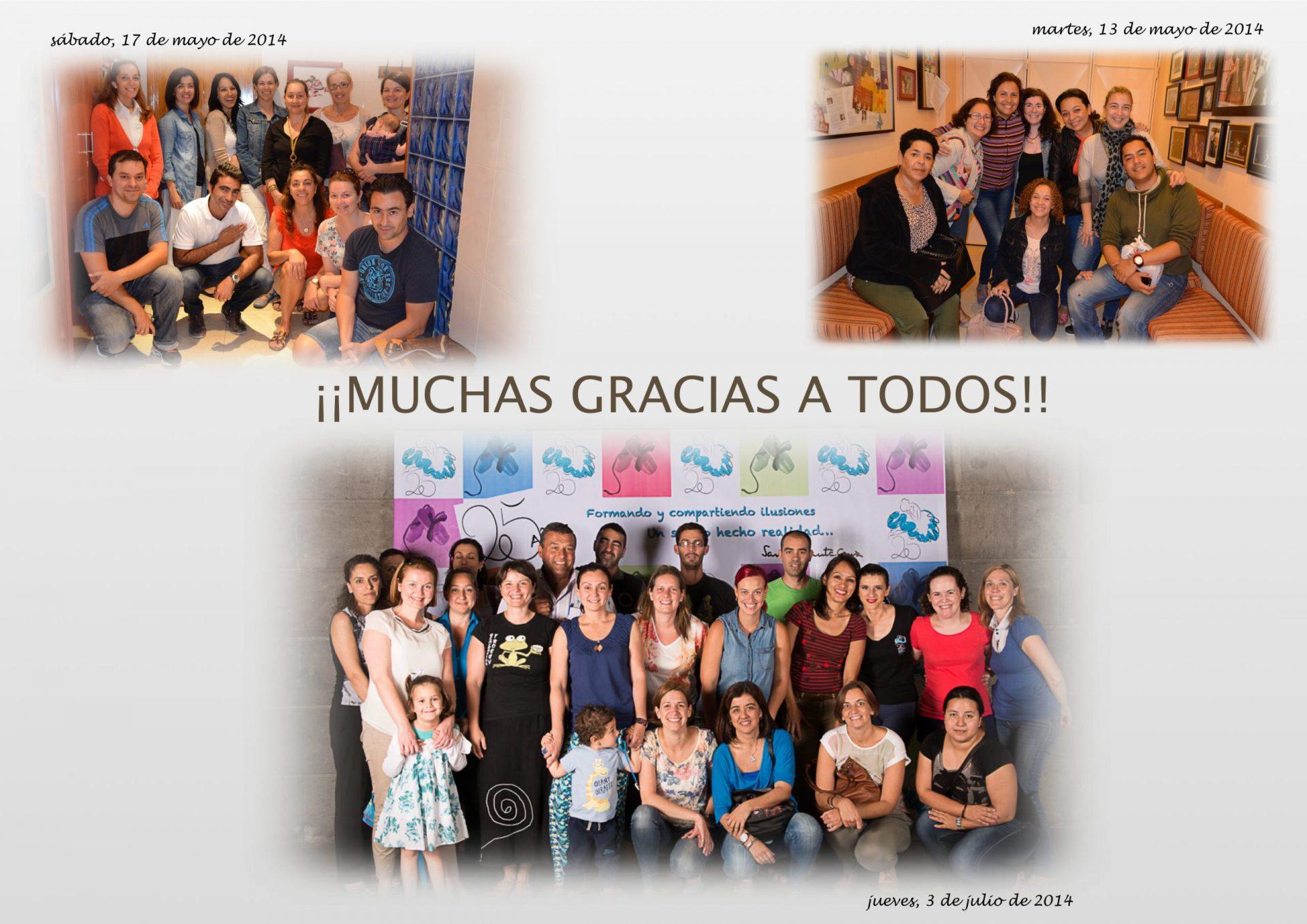 Colage de fotos de l padres del Centro de Danza Sandra Santa Cruz para agradecerles us complicidad en cada uno de los eventos del Centro