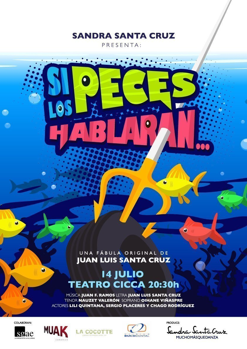 """CARTEL del musical """"Si los peces hablaran..."""" donde se ve una rueda pinchada por un tridente y unos peces de colores que miran sorprendidos la contaminación que hay a su alrededor. Espectáculo creado por el Centro de Danza Sandra Santa Cruz para concienciar sobre contaminación marina."""