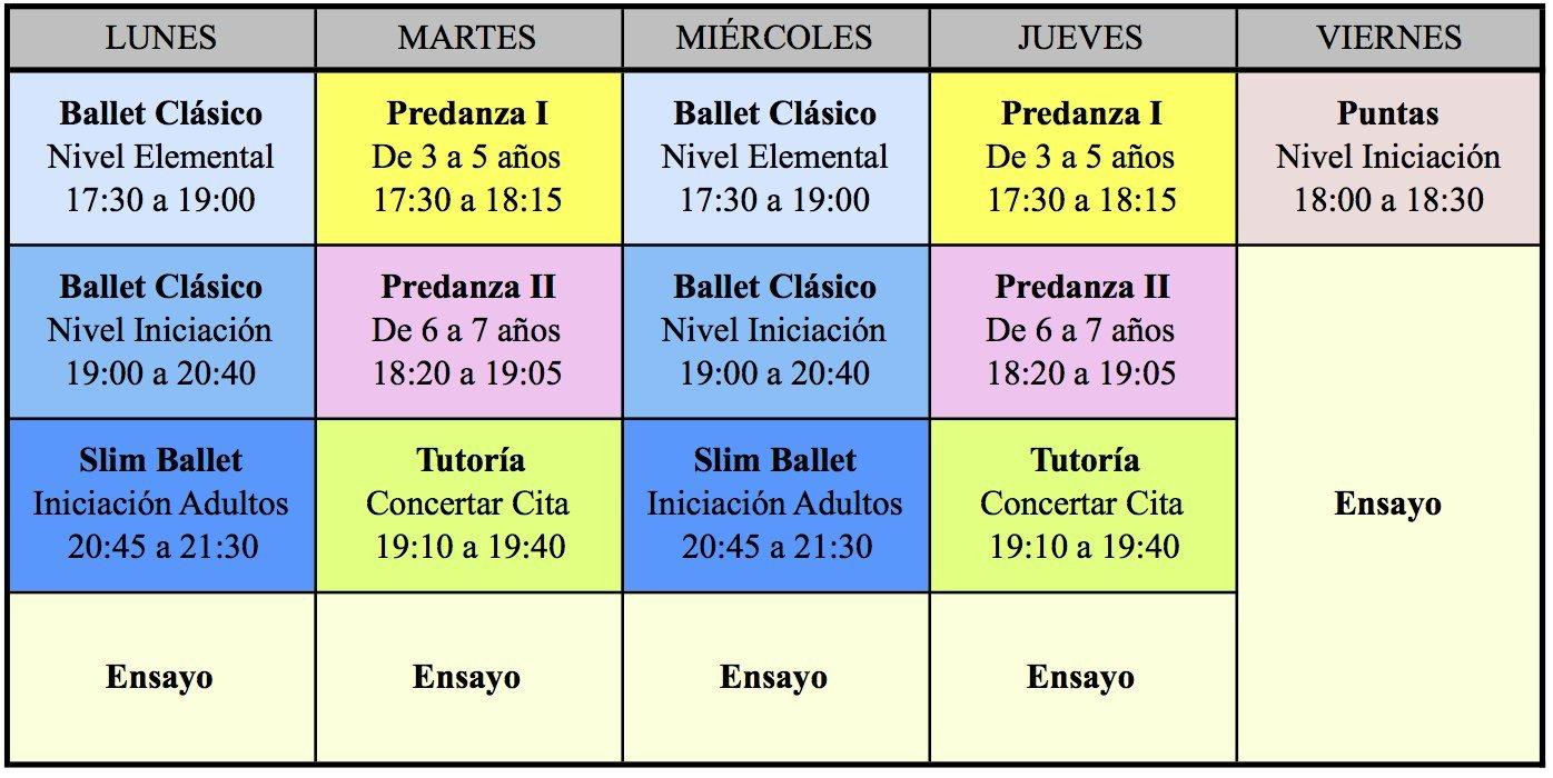 Horarios 2016/17 Centro de Danza Sandra Santa Cruz