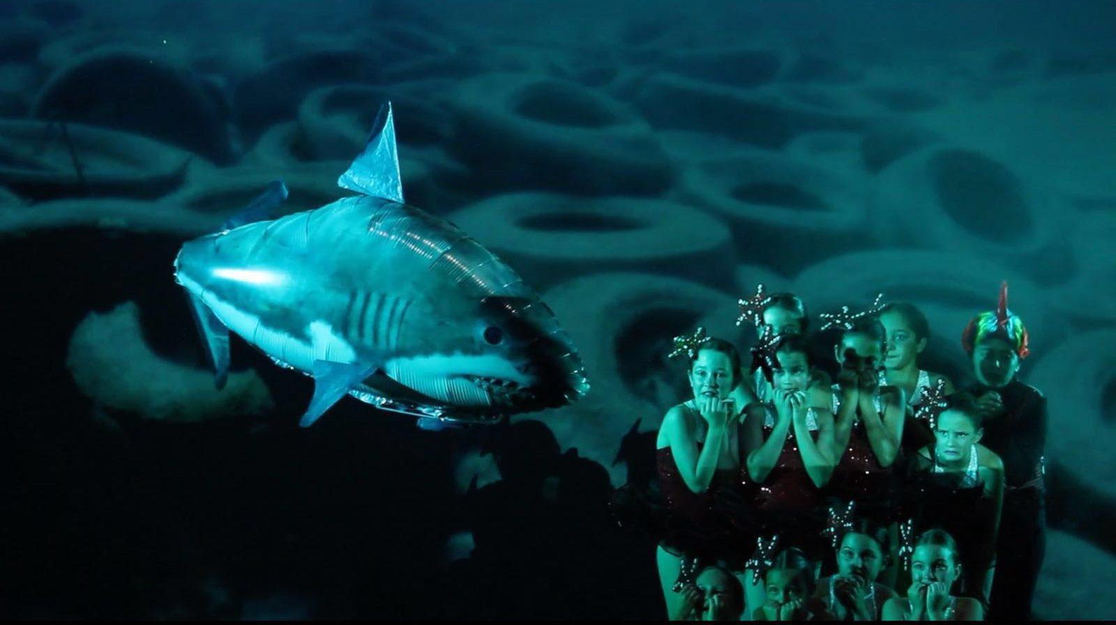 Foto del Musical Si los peces hablaran... del Centro de Danza Sandra Santa Cruz donde un tiburón de helio se acerca amenazante a un grupo baialrines vestidos de peces que lo mira aterrado. En la pantalla de proyección se ve que el fondo marino está lleno de gomas de neumáticos que se han arrojado al mar.
