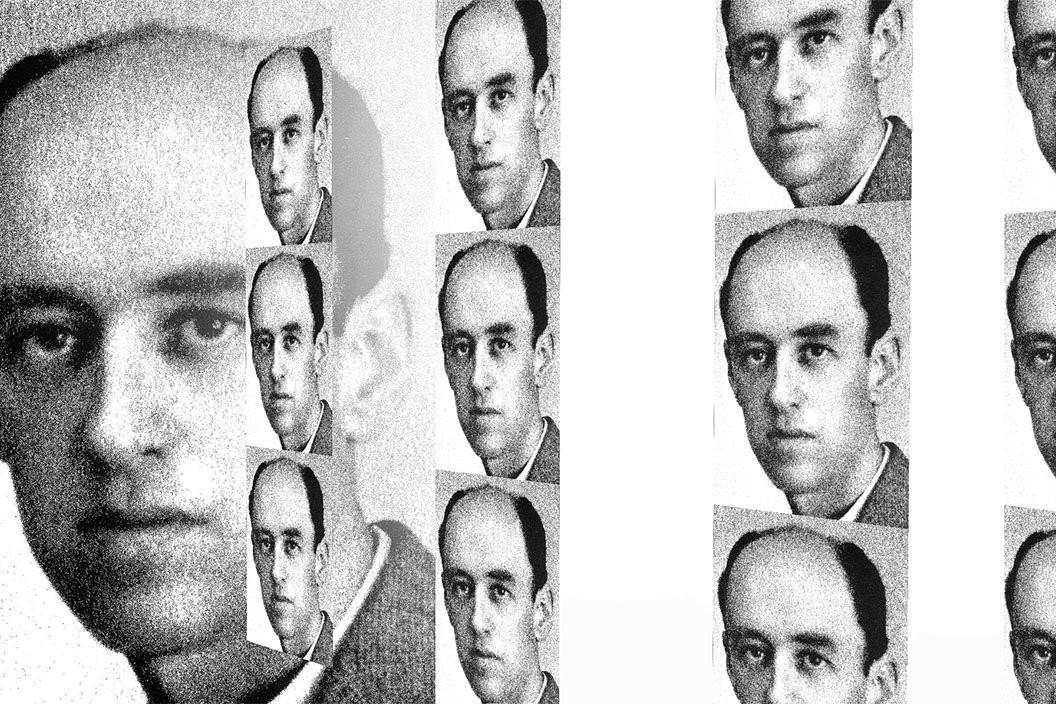 Cartel de Agistín Espinosa donde su cara se repite constantemente