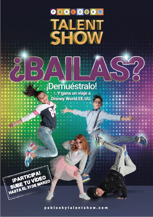 Cartel de Talent Show donde se ven a 4 bailarines en diferentes poses