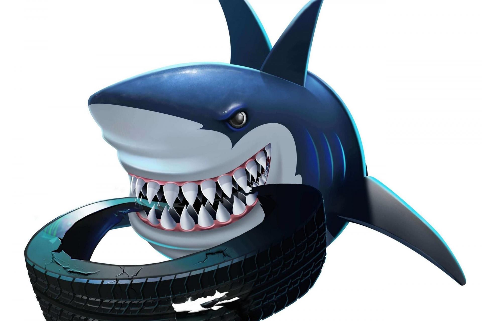 Ilustración de Don Canino, el tiburón más fuerte del arrecife de colores del cuento Si los peces hablaran... de Sandra Santa Cruz, muerde con sus feroces dientes una rueda desgastada que tiene un agujero por un lado.