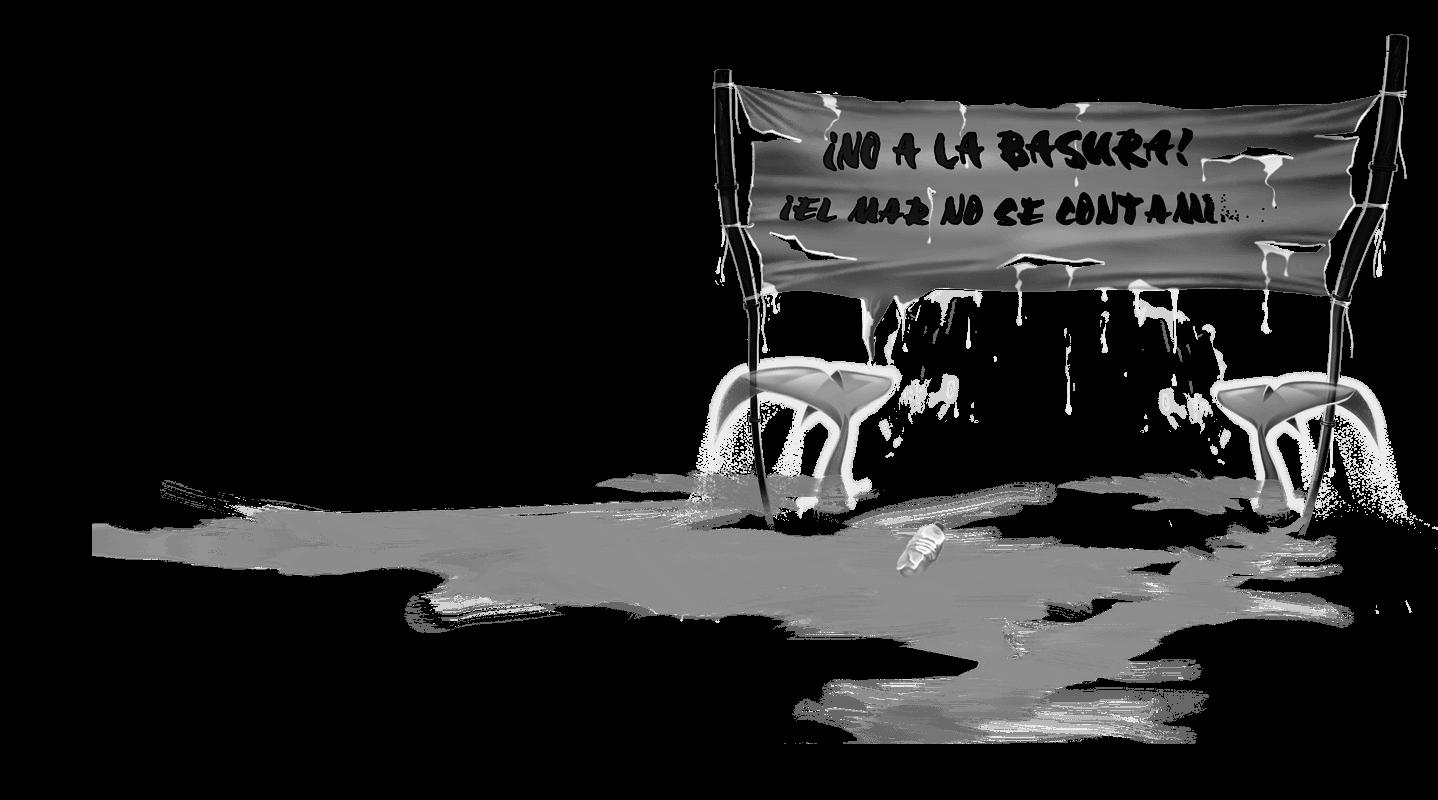 Ilustración de la pancarta de Si los peces hablaran... del cuento de Sandra Santa Cruz que pone: ¡No a la basura, el mar no se contamina!