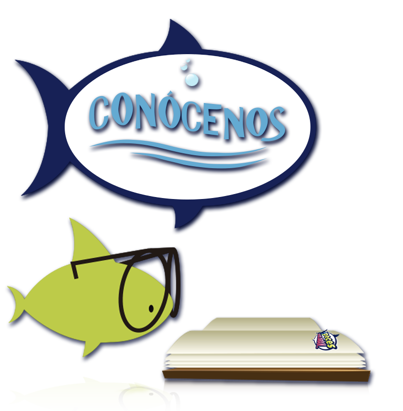 """Ilustración del cuento Si los peces hablaran... de Sandra Santa Cruz que está a punto de salir al mercado donde puede ver un pecesito verde con gafas leyendo un libro que tiene el logotipo de Si los peces hablaran... y, sobre la cabeza un bocadillo que tiene forma de pezdonde se lee Conócenos en azul y salen tres burbujas. Éste pececito es nuestro pequeño """"Brand"""" leyendo un fragmento de nuestra obra."""