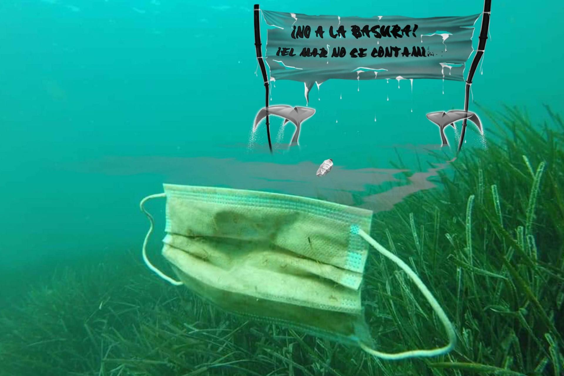 Foto de una mascarilla en el fondo del mar y la pancarta de Si los peces hablaran... ¡No a la basura el mar no se contamina!