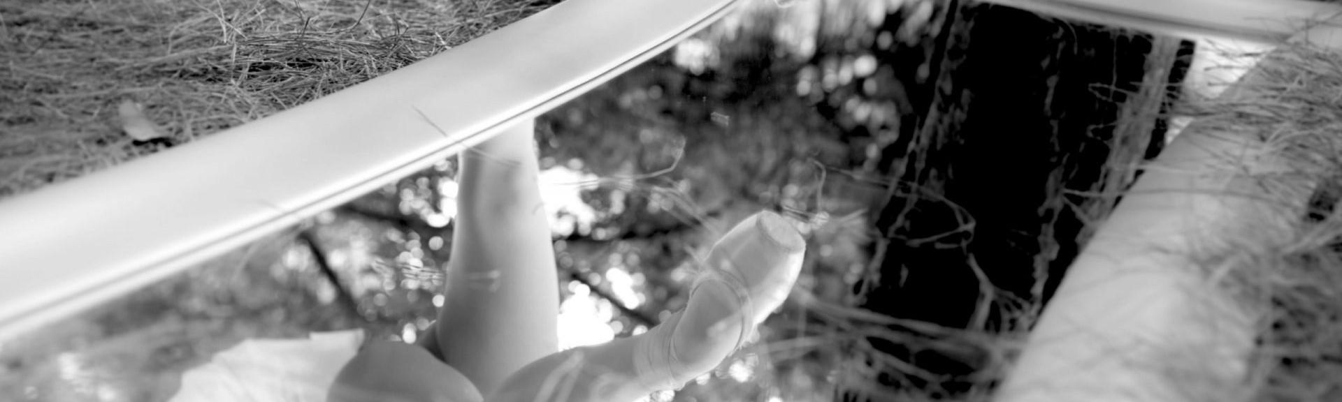 Foto de unos pies de una bailarina del Centro de Danza Sandra Santa Cruz, con unas zapatillas de puntas haciendo un attitude delante, que se reflejan en un espejo acostado en el suelo de un campo lleno de piñocha. En el espejo se puede apreciar que lleva puesto un tutú de plato y el tronco de árbol enorme.