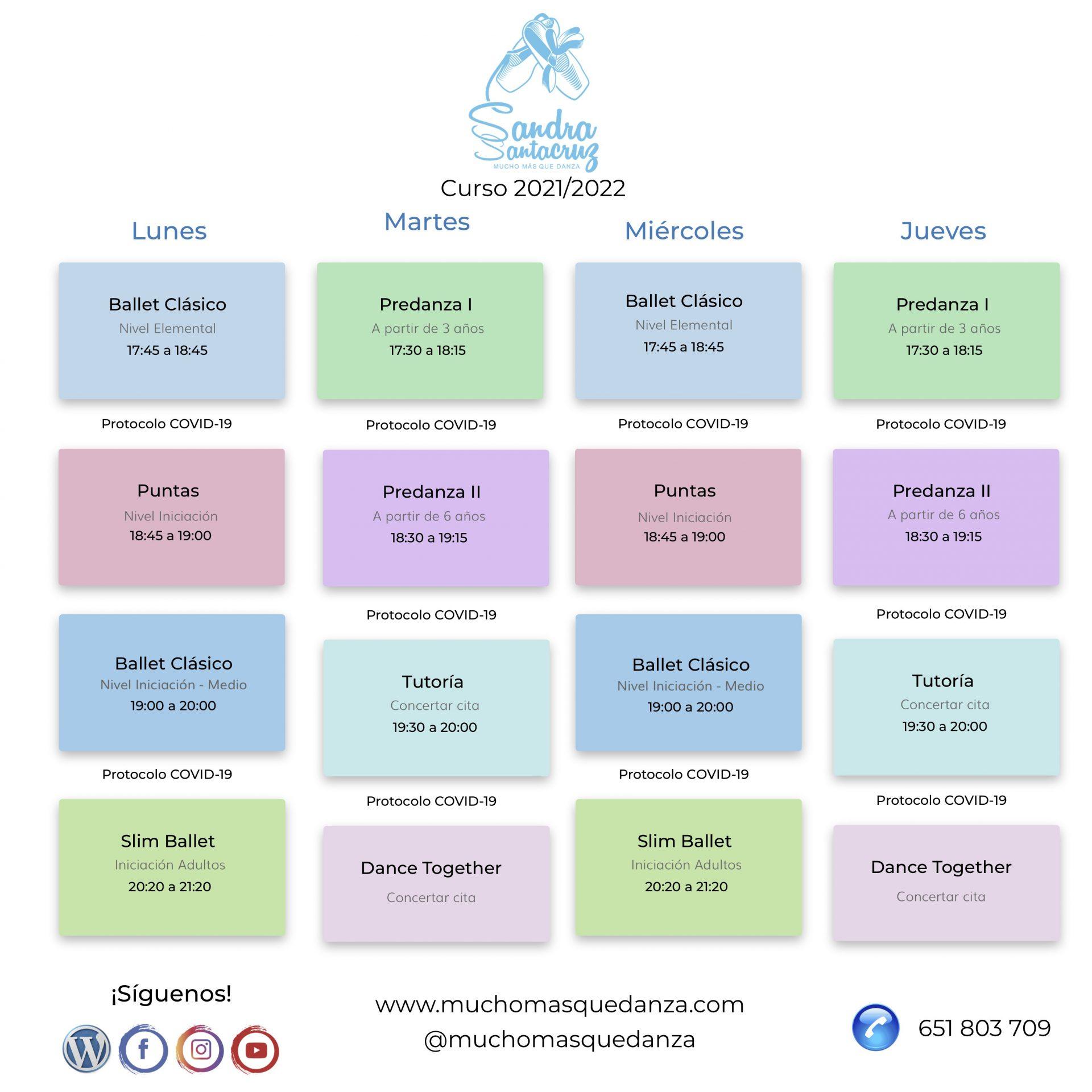 Horario de clases del centro de Danza  Sandra Santa Cruz para el curso 2021/2022. En colores pasteles se diferencian sus disciplinas. en la parte de de abajo, se encuentran las redes sociales.